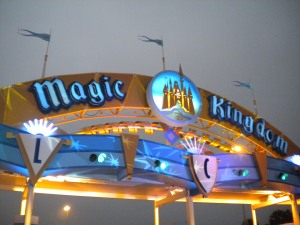 The Magic Kingdom sign at day break