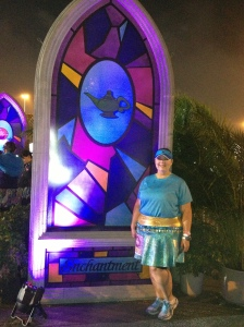 Me in front of the Princess Jasmine backdrop to match my costume!  They had one for each princess lining the path as we entered the staging area.