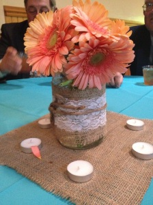 The centerpiece for the wedding reception