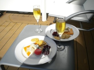 All Hands On Deck fruit and cheese plate ordered from room service with our own champs that we brought on board with us