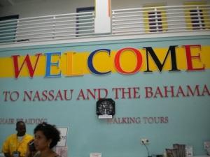 The information desk at the port in Nassau