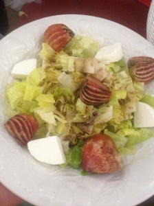 Roasted beet and goat cheese salad made with farmer's market ingredients