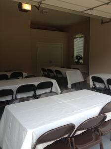 My cousin set up tables in her garage for the Labor Day Stew.