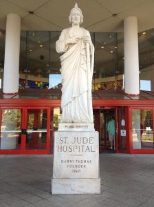 At the entrance to St. Jude Children's Research Hospital stands a statue of St. Jude, the patron saint of hopeless causes.