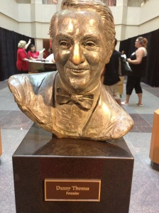 A bust of Danny Thomas, the founder of St. Jude, is on display in the hospital.  His nose is brighter than the rest because visitors often rub it for luck.