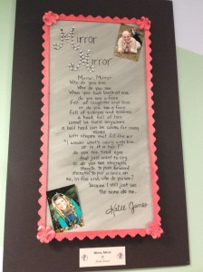 Mirror, Mirror is a poem written by a patient and is on display in the patient art gallery.