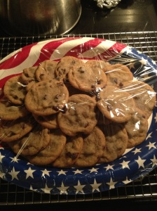 I put the cookies on a patriotic plate to deliver to the fire fighters.