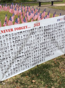 Poster remembering the fire fighters and police officers who lost their lives on 9/11/01