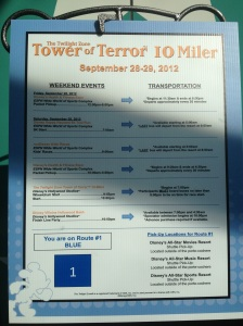 Tower of Terror 10 Miler transportation board at the resort