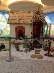 This gingerbread house at St. Jude is about the size of a small bathroom.