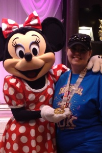 Minnie loved that she was featured on the 10k medal!