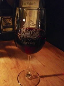 I'm also into drinking my Pinot Noir from Oregon out of my Disney Princess Half Marathon 2013 glass.