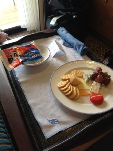 All Hands on Deck cheese plate and Mickey ice cream bar from room service