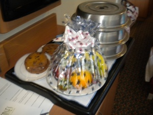 Surprise fruit basket from room service