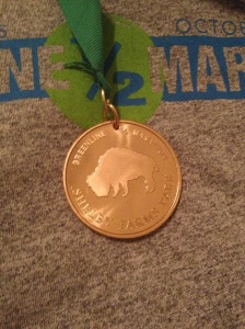 The finisher's medal features a buffalo, symbolic of the park.
