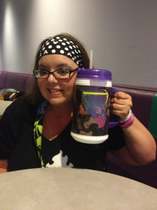 Special drink mug I found out about through social media.  Also, I thought I was smiling!  I was tired!