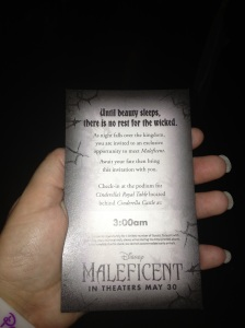 We got special tickets to an exclusive Maleficent meet!