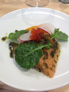 Kale pesto rubbed salmon