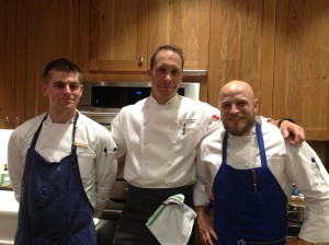 Cameron Roszkowski, Josh Feathers, and Ryan Burger, all chefs at Blackberry Farm