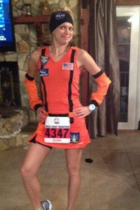Vicky in her NASA space suit ready for Spacecoast Marathon