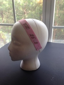 Vicky can embroider what you want to make a custom headband for you or your team.