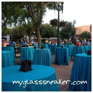 No seats were available for the dessert party, just tables for standing.