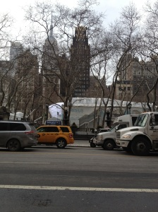 Bryant Park, getting ready for Fashion Week