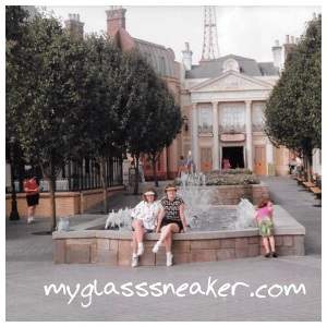 My sister and I at the France pavilion at Epcot Center (it was still called that then) in 1987